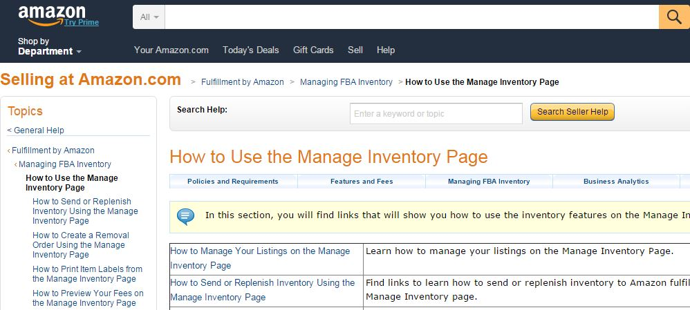 a breakdown of amazon's new manage inventory page
