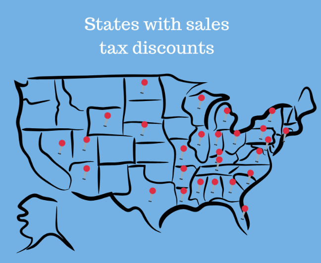 US map showing states with sales tax discounts