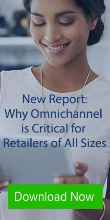 woman smiling using tablet download omnichannel report