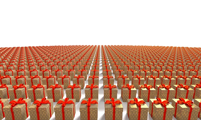 rows of kraft wrapped gifts with red bows